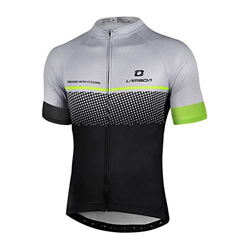 LAMEDA Kurzarm Radtrikot Herren Damen Funktionsshirt T-Shirt Jersey Elastische Atmungsaktive Schnell Trocknen Stoff Fahrradtrikot für Radsport Outdoor Sport(Grau XL)