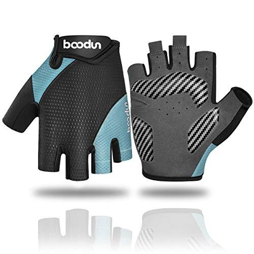 WACCET Fahrradhandschuhe Halbfinger MTB Handschuhe, Atmungsaktiv rutschfeste Stoßdämpfende Gel Fingerlose Fahrrad Handschuhe Sommer für Herren Damen (Blau, XL)