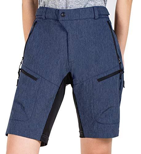 Cycorld MTB Shorts Damen MTB Hose, Lose Passen Radhose Reißverschluss Taschen Fahrradhose Damen Mountainbike Shorts (Navyblau, L)