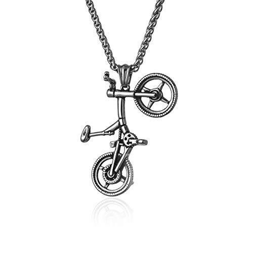 Joielavie Herren Halskette Anhänger Edelstahl mit Kette Motiv Fahrrad Kreativ Vintage Schmuck Geschenk