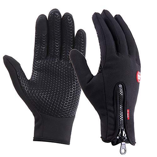 Brudergo wasserdichter Touchscreen Handschuhe Winter Fahrradhandschuhe Laufhandschuhe Sporthandschuh mit Touchscreen Funktion (Schwarz, L(Palm Breite Ca. 9cm))