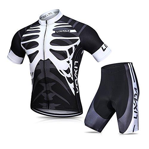 Lixada Herren Radtrikot Set, Atmungsaktiv Quick-Dry Kurzarm Radsport-Shirt + Gel Gepolsterte Shorts, (Schwarz&Weiß, XXL)