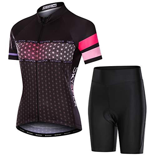 SKYSPER Damen Radtrikot Set Kurzarm Fahrradbekleidung mit Sitzpolster Fahrradtrikot Schnelltrocknend und elastische atmungsaktive hoher Dichte für Radsport