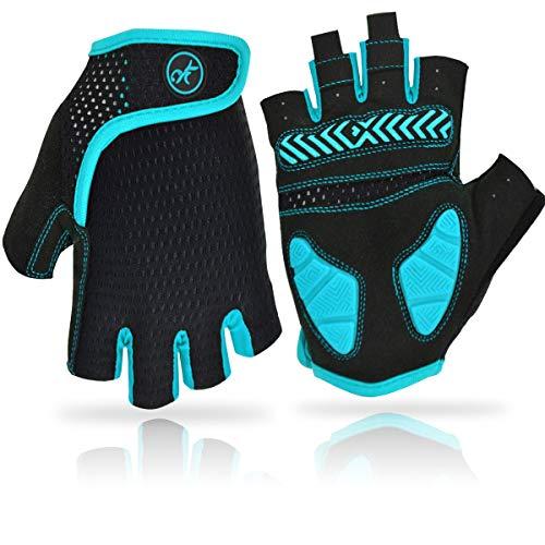REETEE Fahrradhandschuhe Halbfinger Radsport Handschuhe Atmungsaktiv Anti-Rutsch Radhandschuhe Herren Damen Sport Handschuhe für Radfahren, Wandern und Outdoor Sportarten (Blau, XL)