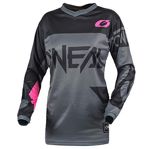 O'NEAL | Motocross-Shirt Langarm | MTB MX Mountainbike | Gepolsterter Ellbogenschutz, Atmungsaktiv, V-Ausschnitt | Women's Jersey Element Racewear | Frauen | Erwachsene | Grau Pink | Größe L
