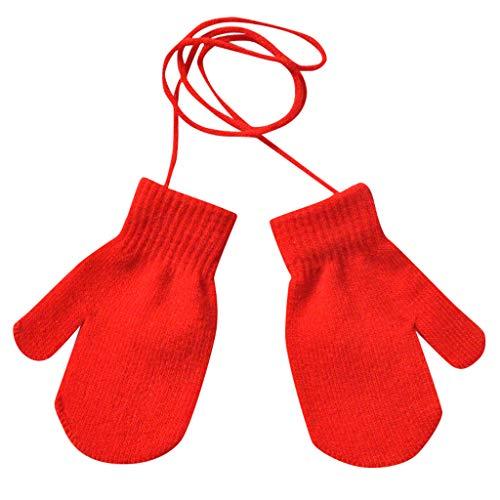 HEETEY Mode Handschuh Kinder Winter warm solide gestrickt süß mit String-Handschuhe Winter Handschuhe Warme Handschuhe Baumwolle Handschuhe Strick Handschuhe Winterhandschuhe Touchscreen