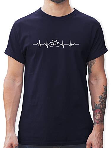 Andere Fahrzeuge – Herzschlag Fahrrad – XL – Navy Blau – Tshirt Herren Fahrrad – L190 – Tshirt Herren und Männer T-Shirts