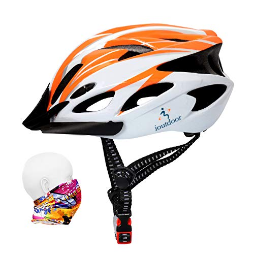 ioutdoor Erwachsene Fahrradhelm CE EN1078, EPS-Körper + PC-Schale, Robust und Ultraleicht, mit Abnehmbarem Visier und Polsterung, mit freiem Stirnband, Verstellbar Radhelm(56-64cm) (Orange Weiß)