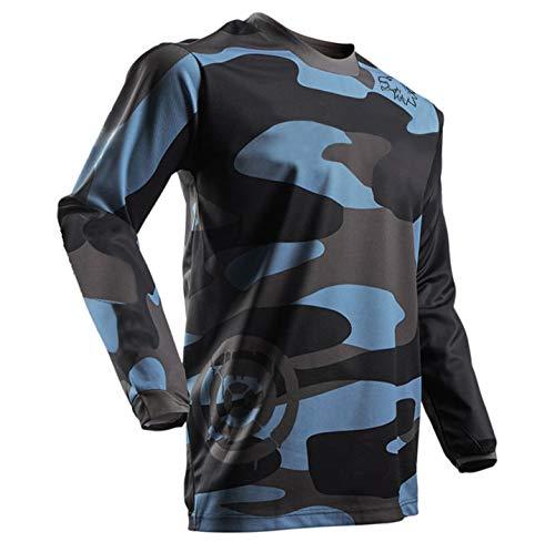 Herren Mountainbike MTB Top Langarm Atmungsaktiv Bequem Weich Feuchtigkeitstransport Radtrikot,Camouflage,XXL