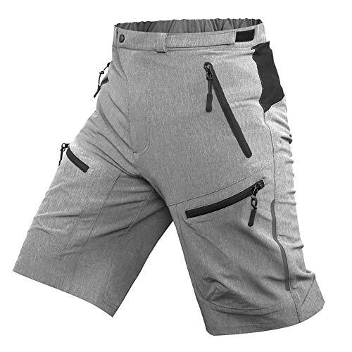 ALLY MTB Hose Herren Radhose, Wasserabweisend Mountainbike Kurz, Outdoor Sport Fahrradhose Herren Shorts (Grau, XL(Taille:35