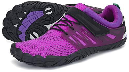 SAGUARO Barfußschuhe Damen Outdoor Zehenschuhe Traillaufschuhe Training Fitnessschuhe Straße Laufschuhe Walkingschuhe St.2 Violett 41