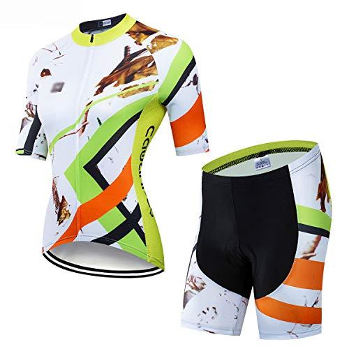 YXX Damen Radtrikot Set, Atmungsaktiv Quick-Dry Gepolsterte Hose Für Radfahren MTB, Fahrradbekleidung Damen Set,Weiß,L