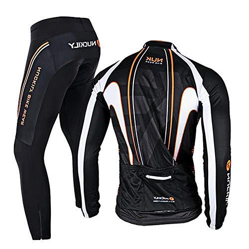 RMane Herren Radsport-Anzüge Fleece Fahrradbekleidung Set RadtrikotLangarm Radjacke + Radhose 3D Gepolsterte S – 2XL (Schwarz-Orange, XL)
