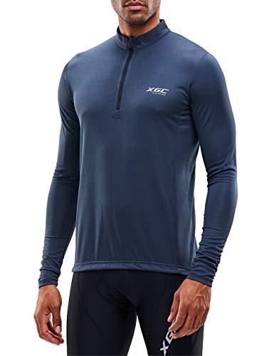 Herren Langarm Radtrikot Fahrradtrikot Radshirt Fahrradshirts Fahrradbekleidung für Männer mit Elastische Atmungsaktive Schnell Trocknen Stoff (Grey, XXL)