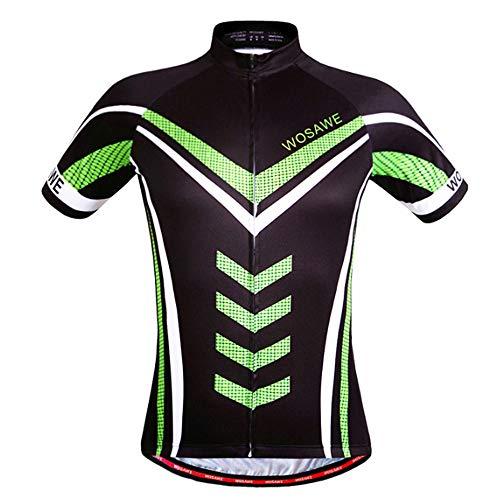 Herren Radtrikot Tops, Fahrradjacke, Fahrradbekleidung, Radsporthemden Kurzarm Durchgehender Reißverschluss zum Laufen Wandern,S