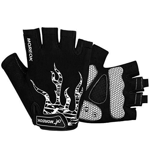 Fingerlose Fahrradhandschuhe mit Gel Mountainbike Handschuhe Halbfinger Männer, Atmungsaktiv Trainingshandschuhe Rennrad Handschuhe Radhandschuhe MTB Handschuhe für Damen Herren (Weiß, S)