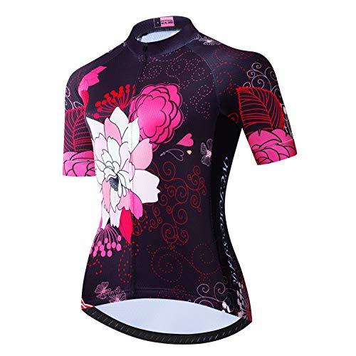 Weimostar Radtrikots Damen Bike Tops Team Sport Wandern Laufen Kleidung Mystery Blume Schwarz M