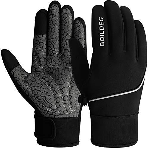 boildeg Fahrradhandschuhe Radsporthandschuhe rutschfeste und Stoßdämpfende Mountainbike Handschuhe mit Signalfarbe geeiget Unisex Herren Damen (Black, XL)