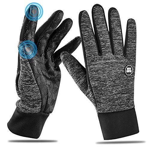 HOOMIL Laufhandschuhe Touchscreen-Handschuhe Leicht Warme Handschuhe für Herren Damen Sporthandschuhe für Spaziergang Laufen, Radfahren, Fahren, Klettern im Frühjahr Herbst und frühen Winter (M, Grau)