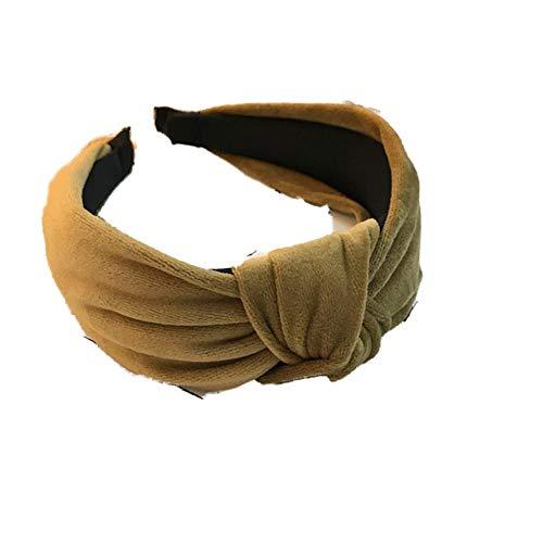 ZWRY Stirnband Haarschmuck Damen Samt Mitte geknotet Breite Seite Stirnband Mode Wilde Stirnband waschen Khaki