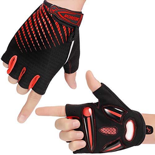 Damen Fahrradhandschuhe Herren Handschuhe Unisex Atmungsaktiv Halbfinger Handschuhe SBR Gel Radsporthandschuhe Rutschfestes Stoßdämpfende Radhandschuhe für Rennrad(Rot S)