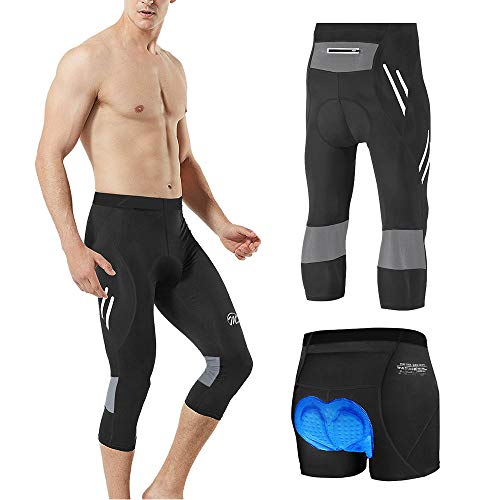 MEETWEE Herren 3/4 Radhose Fahrradhose, Kompression Radlerhose Leggings Radsport Hose für Männer Elastische Atmungsaktive 3D Schwamm Sitzpolster