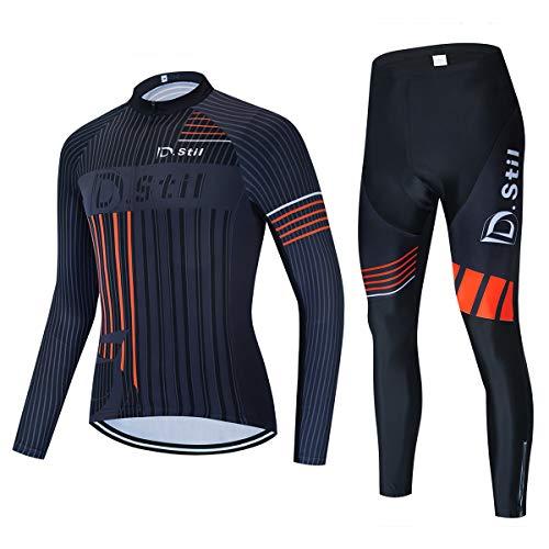 d.Stil Herren Radtrikot Set Langarm mit Sitzpolster für MTB Rennrad Fahrrad Jersey + Bib Shorts Radsportanzug M – 4XL
