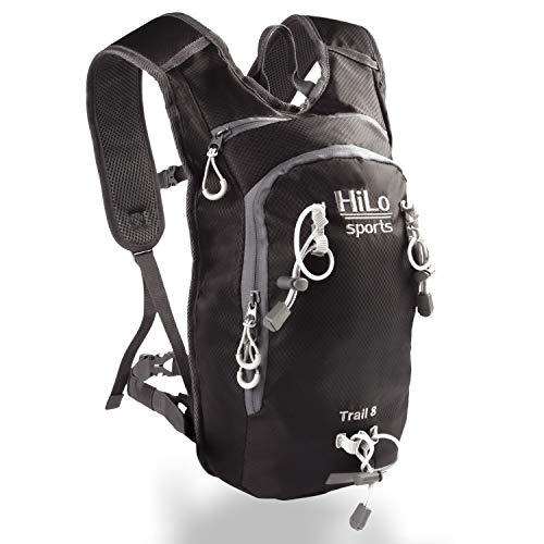 HiLo sports Trinkrucksack Trail 8 Liter – Radrucksack klein mit Platz für 2 Liter Trinkblase – Wasserabweisender Fahrradrucksack – MTB Rucksack Sport – Fahrrad Rucksack (schwarz)
