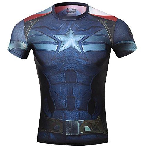 Cody Lundin Herren Kompression Rüstung Amerika Held Logo Fitness Laufen Sport Kurzarm, captain america Blau, L