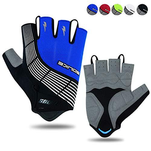 Souke Sports Fahrradhandschuhe Halbfinger Herren Damen Gel Stoßdämpfung Fitness Handschuhe Atmungsaktiv Anti-Rutsch Radhandschuhe, Schwarz/blau, L