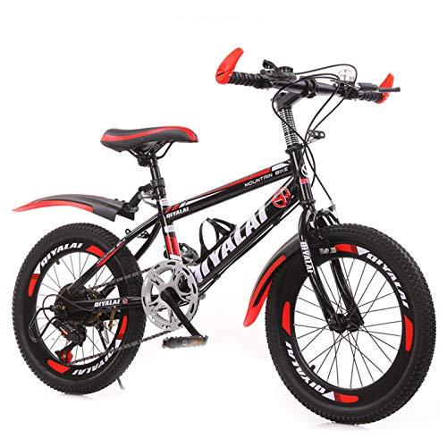GZMUK 18/20/22/24 Zoll Mountainbike Fahrrad Für Mädchen, Jungen, Herren Und Damen 7 Gang-Schaltung Fahrrad Kinderfahrrad,Rot,22 in