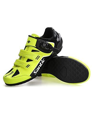 Santic Fahrradschuhe Herren MTB Schuhe Radschuhe Rennrad Fahrradschuhe Flat ohne Klicksystem ohne Schuheplatte Grün EU 42