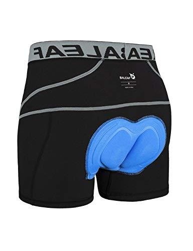 BALEAF Herren Fahrradhose Kurz Gepolstert Atmungsaktive Fahrradunterhose Coolmax 4D Gel Sitzpolster Grau XXL