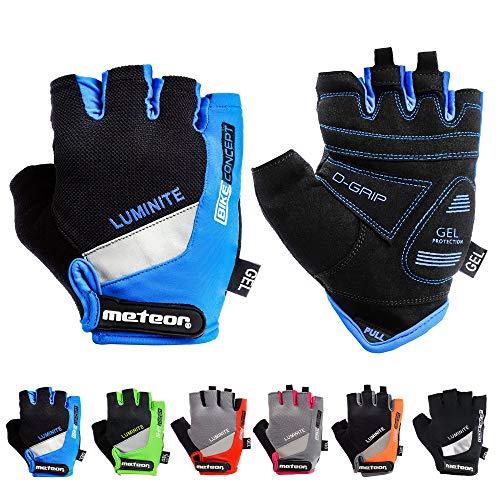 meteor radhandschuhe MTB Handschuhe Herren Gel fahrradhandschuhe Mountainbike Handschuhe – Radsport Handschuhe Damen – Radsporthandschuhe Downhill Fahrrad Handschuhe Kinder (L, Blau)