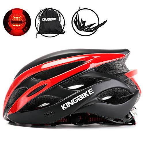 KING BIKE Fahrradhelm Helm Bike Fahrrad Radhelm mit LED Licht FüR Herren Damen Helmet Auf Die Helme Sportartikel Fahrradhelme GmbH RennräDer Mountain Schale Mountainbike MTB (Schwarz Rot, XL(59-62CM)