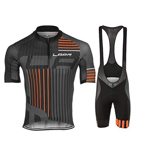 d.Stil Herren Radtrikot Set Kurzarm mit Sitzpolster für MTB Rennrad Fahrrad Jersey + Bib Shorts Radsportanzug M – 4XL (XL, Grau-Orange)