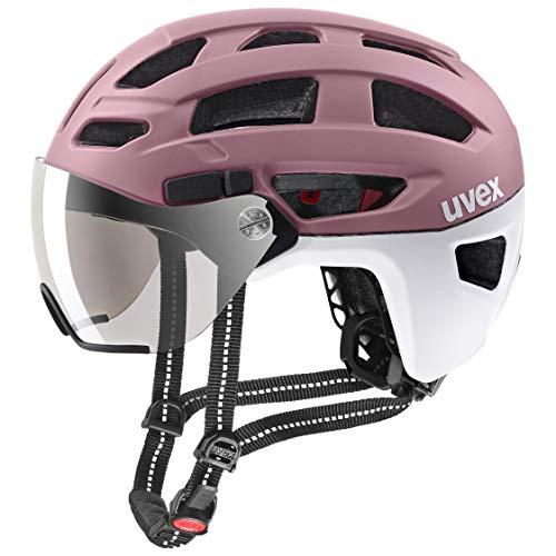 uvex Unisex– Erwachsene Finale Visor Fahrradhelm, rosé – White mat, 56-61 cm