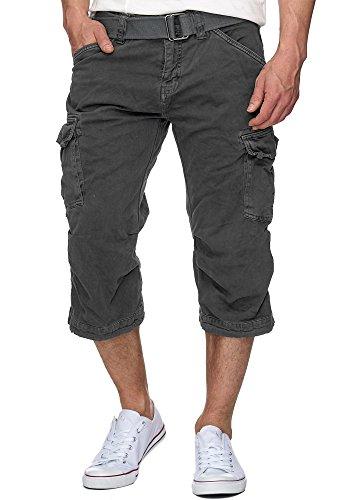 Indicode Herren Nicolas Check 3/4 Cargo Shorts kariert mit 6 Taschen inkl. Gürtel aus 100% Baumwolle | Kurze Hose Sommer Herrenshorts Short Men Pants Cargohose kurz für Männer Raven XXL