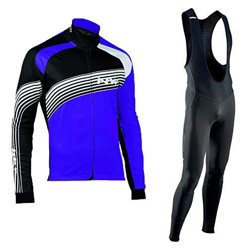 Sock Herren Radsport-Anzüge Fleece Fahrradbekleidung Set Radtrikot Langarm Radjacke + Radhose 3D Gepolsterte mit 19D gepolsterten atmungsaktiven Feuchtigkeitstransport