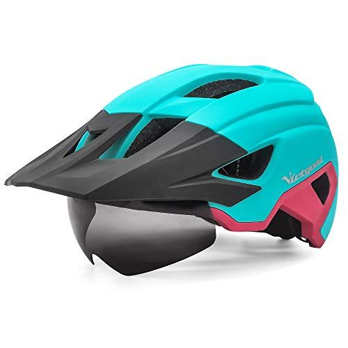 VICTGOAL Fahrradhelm MTB Helm für Erwachsene Leichte Stadt-Fahrradhelm LED Rücklicht mit Magnetischem Brille Abnehmbarer Visier Verstellbar Radhelm für Herren Damen (Hell Rosa)