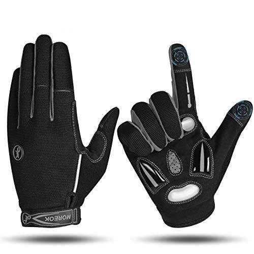 MOREOK Fahrradhandschuhe für Herren Und Damen,5MM SBR+Flüssigkeit Gel Stoßdämpfende Full Finger Atmungsaktiv Rutschfestes Radsporthandschuhe MTB Handschuhe Grau-XL