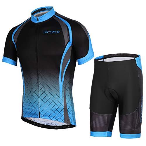 SKYSPER Herren Radtrikot Set Kurzarm Fahrradbekleidung mit Sitzpolster Fahrradtrikot Outdoor Sports Schnelltrocknend und elastische atmungsaktive hoher Dichte für Radsport
