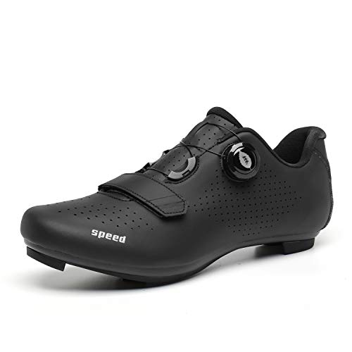 PAMRAY MTB Schuhe Herren SPD SPD-SL Damen Radschuhe Rennrad Fahrradschuhe Road Cycling Shoes Schwarz 45