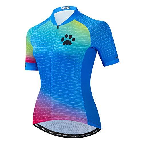 Radtrikot Frauen Damen Fahrrad Top Fahrrad MTB Shirt Kurzarm Mountain Road Kleidung Sommer Racing Riding Top Blau M.
