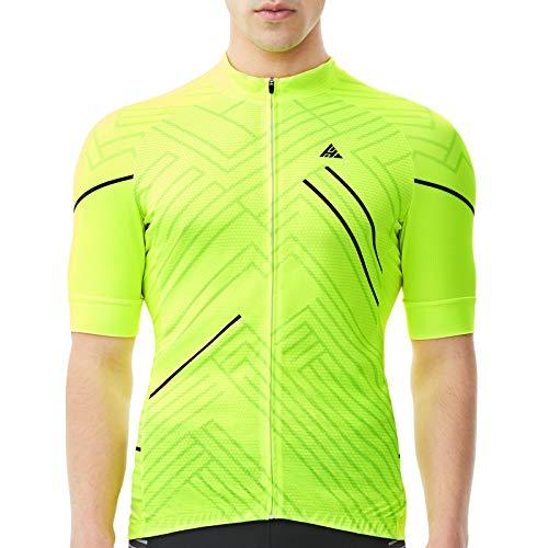 HIKENTURE Radtrikot Herren Kurzarm – [Signalfarbe] – Rennrad MTB Trikot Damen – Auffälliges Fahrrad Trikot für Mountainbike Männer – Sichtbare Fahrradbekleidung als MTB Cycling Jeresy Bike Shirt-XL