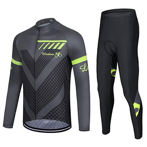 Herren Radtrikot Feuchtigkeit Feuchtigkeitsableitend Atmungsaktives Langarm MTB Shirt und Gel gepolsterte Trägerhose Set, grau/schwarz Gr. XL