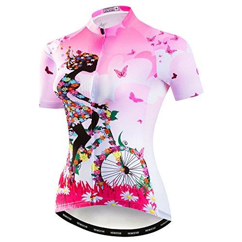 Weimostar Mountainbike-Jersey-Shirts der Radfahren Jersey-Frauen Kurze Hülse Straße Fahrrad-Kleidung Pro-Team MTB übersteigt Sommer-Kleidung Fahrrad Rosa Größe L