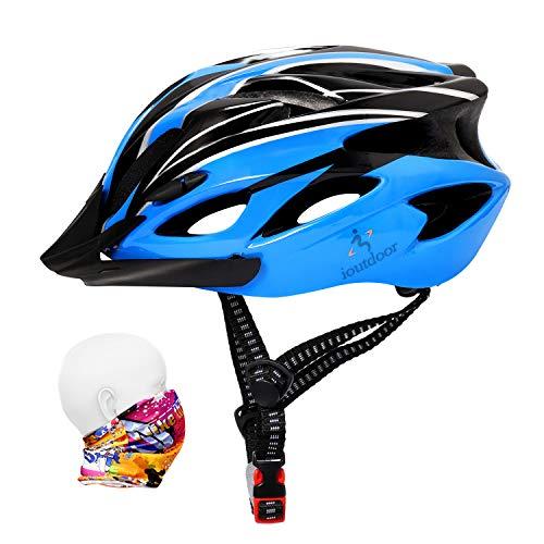 ioutdoor Erwachsene Fahrradhelm CE EN1078, EPS-Körper + PC-Schale, Robust und Ultraleicht, mit Abnehmbarem Visier und Polsterung, mit freiem Stirnband, Verstellbar Radhelm(57-62cm) (Blau Schwarz)