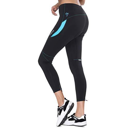 Santic Fahrradhose Damen Gepolstert Lang Radhose Damen Lang Radlerhose Damen Gepolstert auch für MTB Blau EU XL