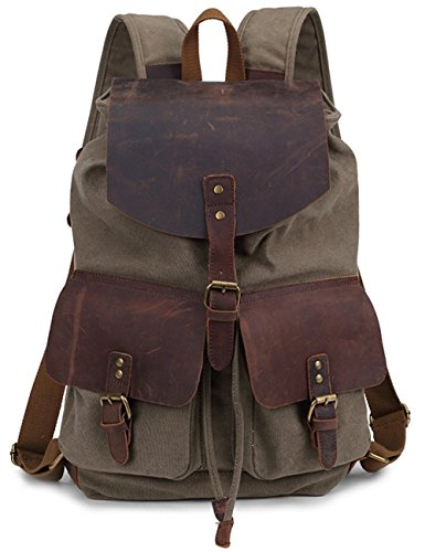 Minetom Damen Herren Rucksack Retro Unisex Canvas Leder Daypacks Armeegrün B